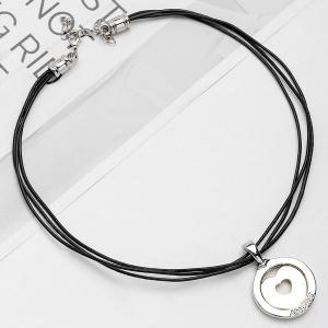 Faux Leather Rope Collarbone Round Heart Necklace -