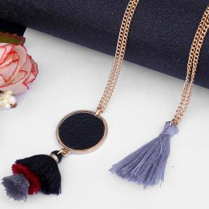 Alloy Bohemian Tassel Layered Pendant Necklace -