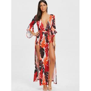 Plunging Neck High Slit Leaf Print Wrap Dress -