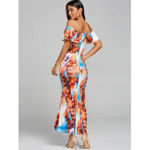 Print Off The Shoulder Maxi Dress -