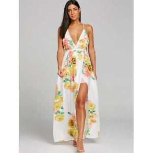Flower Print Plunging High Slit Dress -