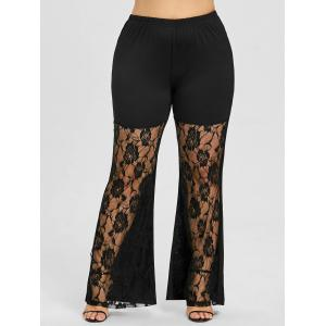 Rose Lace Insert Plus Size Flare Leggings -