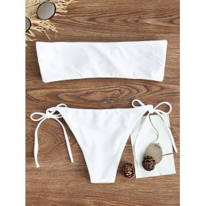 Bandeau Embroidered String Bikini Set -