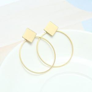 Rhomb Round Hollow Out Drop Earrings -