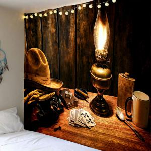 Cowboy Hat Lamp Printed Tapestry -
