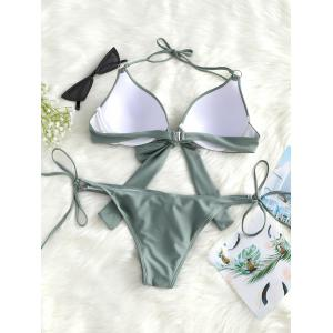 Push Up Knot Front String Bikini Set -
