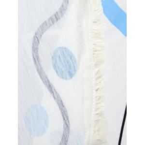 Fringed Polka Dot Geometric Beach Throw -
