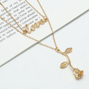 Valentines's Day Love Letter Rose Pendant Necklace -