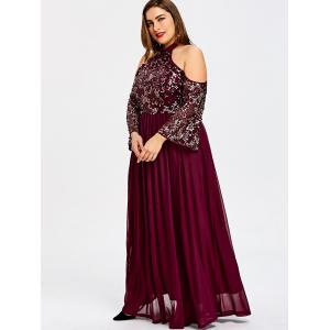 Plus Size Cold Shoulder Sequined Glittery Prom Dress -