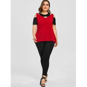 Color Block Plus Size Cutout Shoulder Tee -