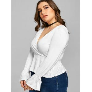 Plus Size Bell Sleeve Plunge Tee -