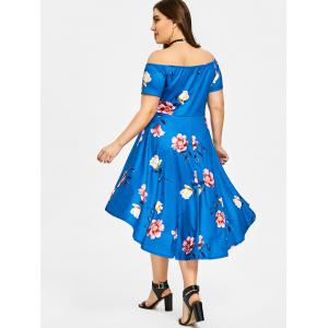 Plus Size Floral Off The Shoulder Party Dress -