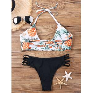 Pineapple Print Halter Multi-string Bikini -
