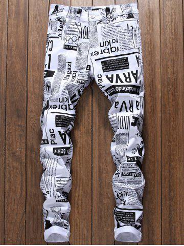 Shop Narrow Feet Newspapers Print Skinny Jeans
