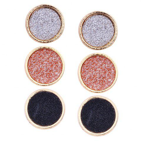 Chic Shining Round Stud Earrings Set