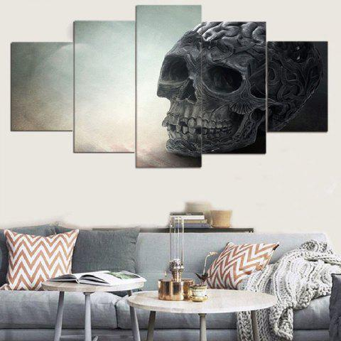 Trendy Skull Pattern Split Unframed Canvas Paintings