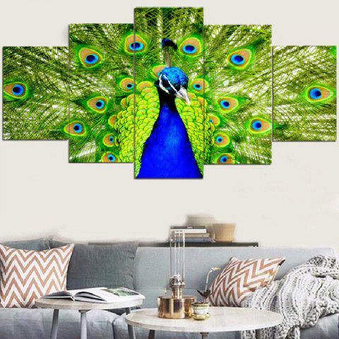 Shop Peacock Pattern Unframed Split Canvas Paintings