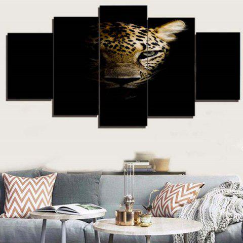 Chic Dark Night Leopard Print Unframed Canvas Paintings