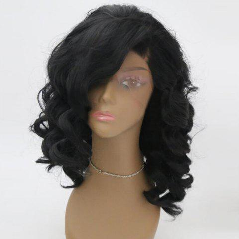 New Medium Side Parting Fluffy Wavy Synthetic Lace Front Wig