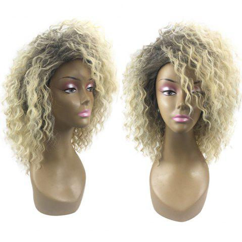 Sale Medium Colormix Inclined Bang Fluffy Wavy Synthetic Wig