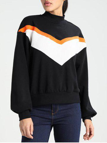 Discount High Neck Puff Sleeve Sweatshirt