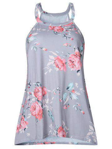 Affordable Sleeveless Floral Print T-shirt