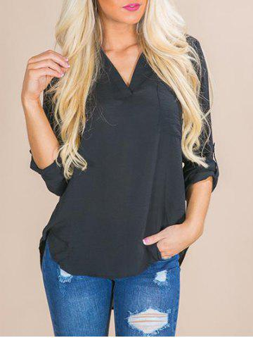 Unique V Neck Front Pocket Shirt