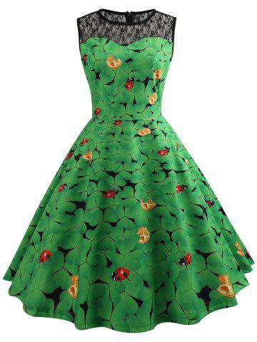 Cheap Leaf Ladybird Print Lace Insert Vintage Dress