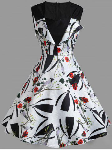 Cheap Sweetheart Sleeveless Flower Print Vintage Dress