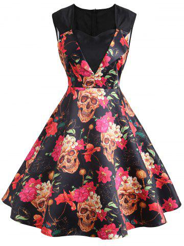 Discount Sweetheart Sleeveless Flower Print Vintage Dress