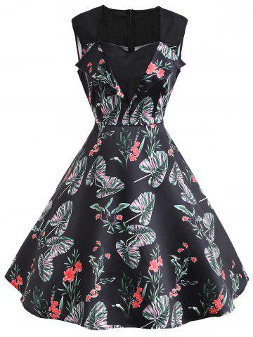 Unique Sweetheart Sleeveless Flower Print Vintage Dress