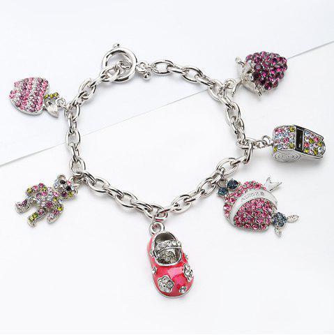 Rhinestone Bear Whistling Grape Charm Bracelet
