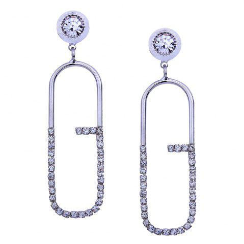 Fancy Geometric Artificial Diamond Inlay Stud Drop Earrings