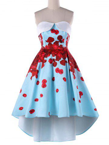 Online Floral Strapless High Low Party Dress