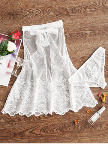 Trendy Backless Mesh Sheer Embroidery Babydoll