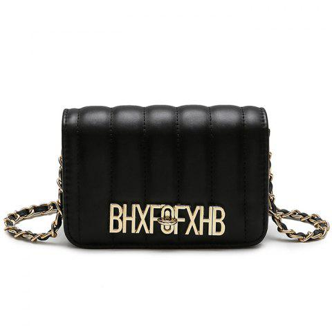 Trendy Stitching Metallic Letter Crossbody Bag