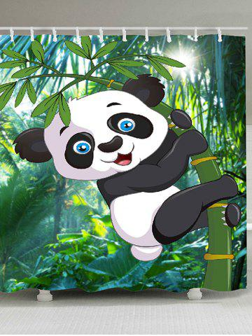 Online Cartoon Panda Hugging Bamboo Printed Shower Curtain