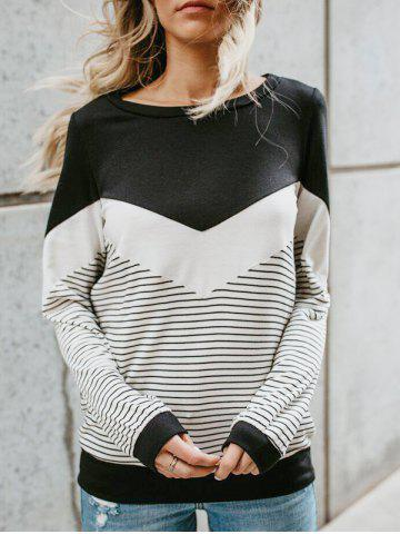 Sale Color Lump and Striped Panel T-shirt