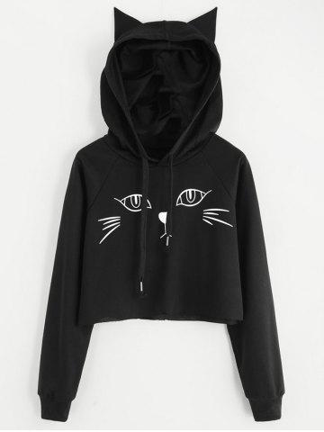 Online Drawstring Monochrome Cat Pattern Pullover Hoodie
