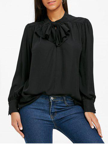 Trendy Bowknot Mock Neck Chiffon Blouse