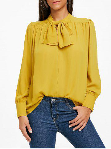 Hot Bowknot Mock Neck Chiffon Blouse