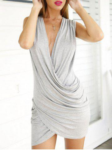 Trendy Plunge Asymmetrical Surplice Bodycon Dress