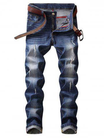 Discount Zip Fly Straight Leg Frayed Jeans