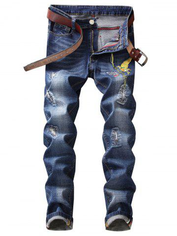 Outfits Straight Leg Bird Embroidery Distressed Jeans