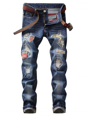 Cheap Zip Fly Straight Leg Patched Jeans