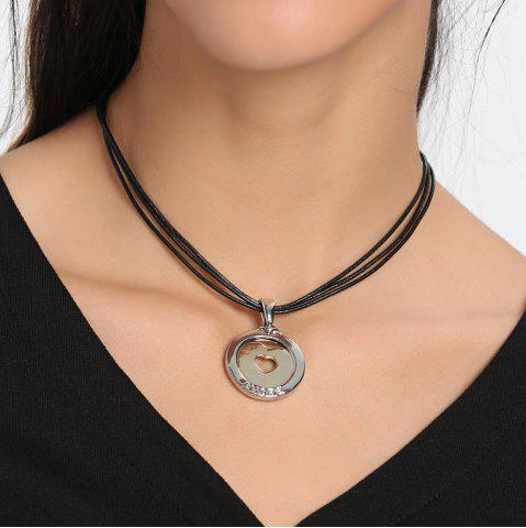 Affordable Faux Leather Rope Collarbone Round Heart Necklace