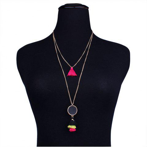 Shops Alloy Bohemian Tassel Layered Pendant Necklace