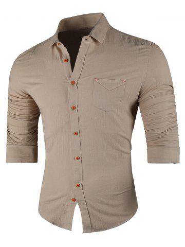 Chest Pocket Long Sleeve Casual Shirt