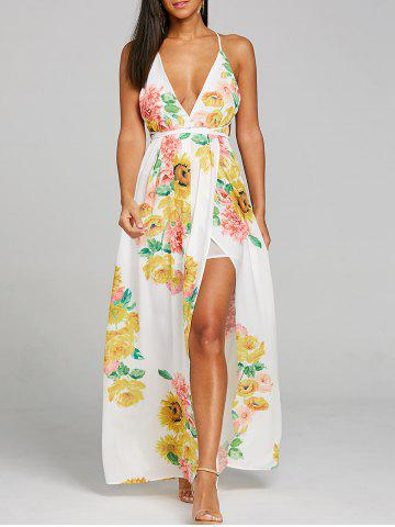 Cheap Flower Print Plunging High Slit Dress