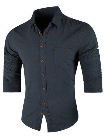 Online Chest Pocket Long Sleeve Casual Shirt